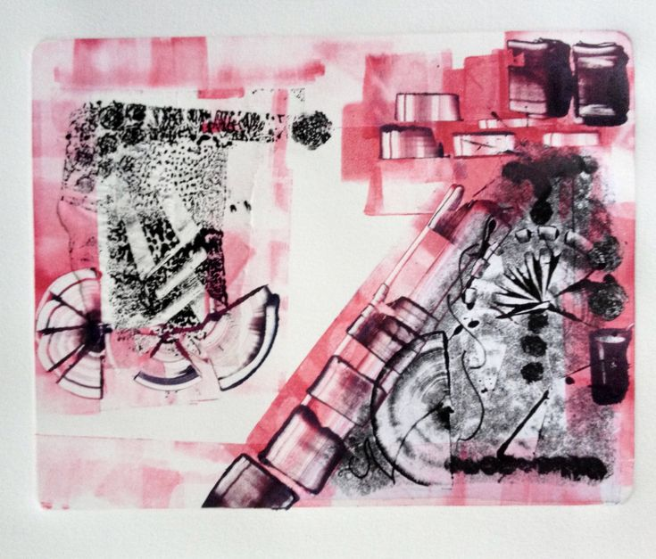 Original Oil Monotype Print 'Pink Houses' by DoodleArtbyBee on Etsy