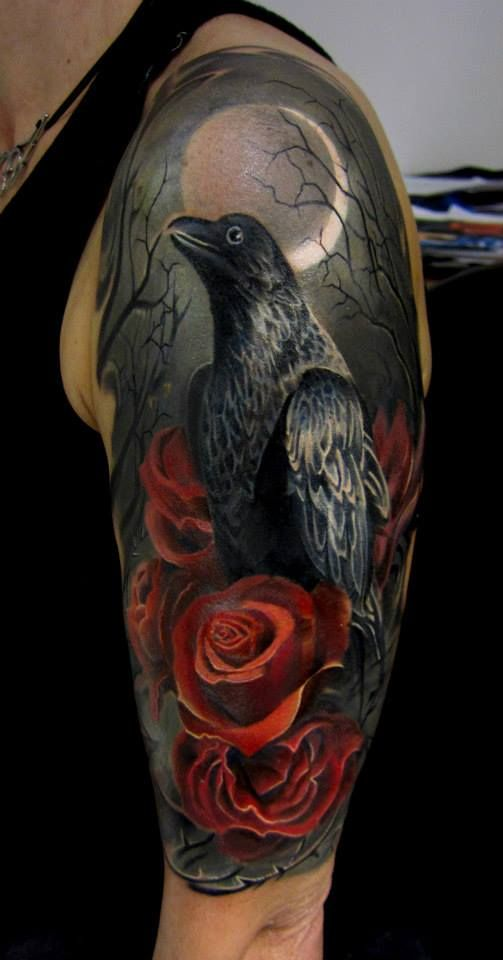 Crow tattoo. Piotr Deadi Dedel.