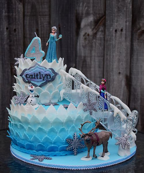 Two Tiered Ombre Disney Frozen Cake With Ice Staircase