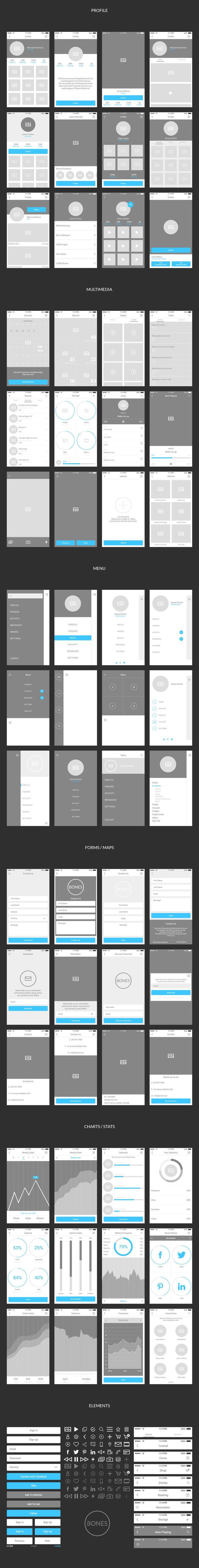 Bones IOS Wireframe Kit #ios #mobile #android #ui #ux #app #application #iphone #wireframe #photoshop #illustrator #graphics #webelements #wireframe #webelementskit #fashion #multimedia #blog #ecommerce