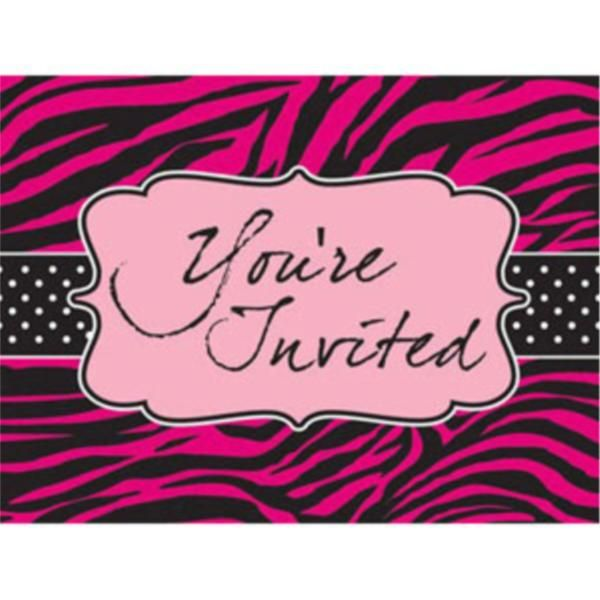 Kids Party Supplies   Pink Zebra Boutique Party Invitations   Purchase at www.perfectkidspartyshop.com.au