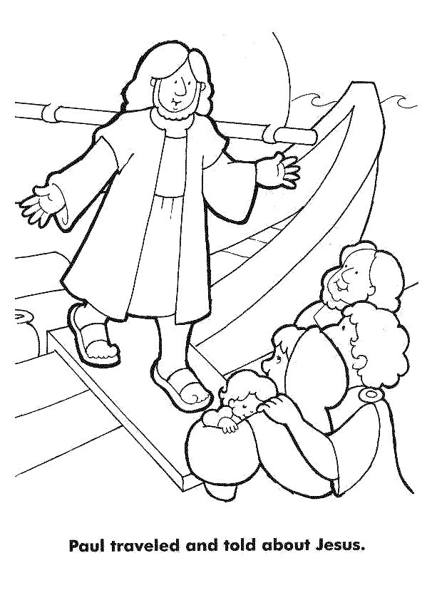 Paul traveled and told others about Jesus - coloring page printable