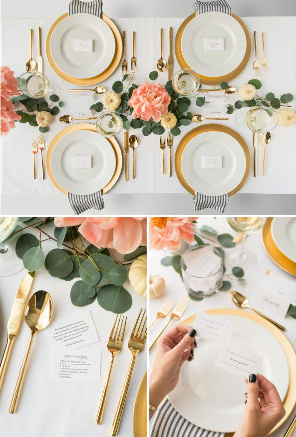 "Loose ""runner"" and tablescape: eucalyptus leaves and peach flowers. Such a pretty and feminine table - love the gold flatware."