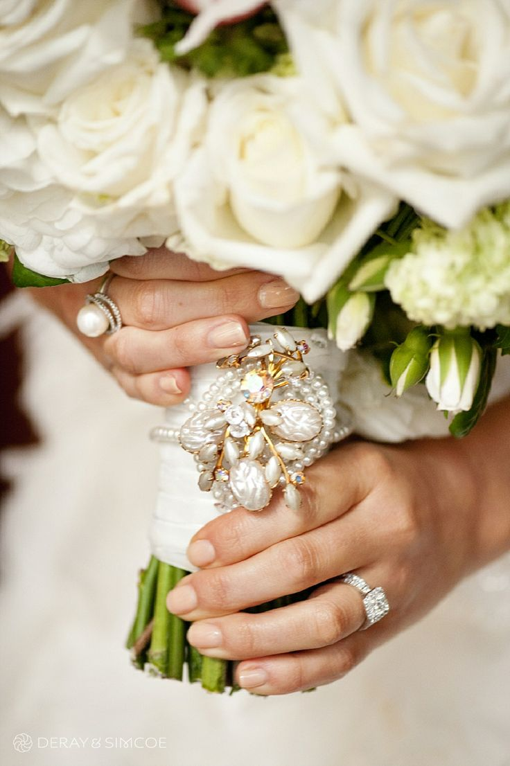 Gorgeous bride's bouquet with brooch feature. Photography by DeRay & Simcoe Bouquet by Natural Art Flowers by Rebecca Grace