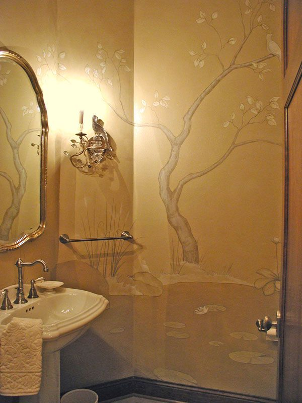 Very Elegant Custom Bathroom Mural Painted With A Limited Color Palette To  Give The Mural A