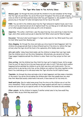 The Tiger Who Came To Tea Activity Ideas | Free EYFS / KS1 Resources for Teachers