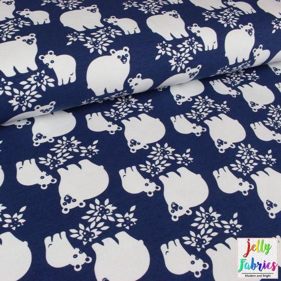 PaaPii ORGANIC SWEATSHIRT Knit - Bear Fabric in Blueberry - Sold by the Half Metre - UK Seller