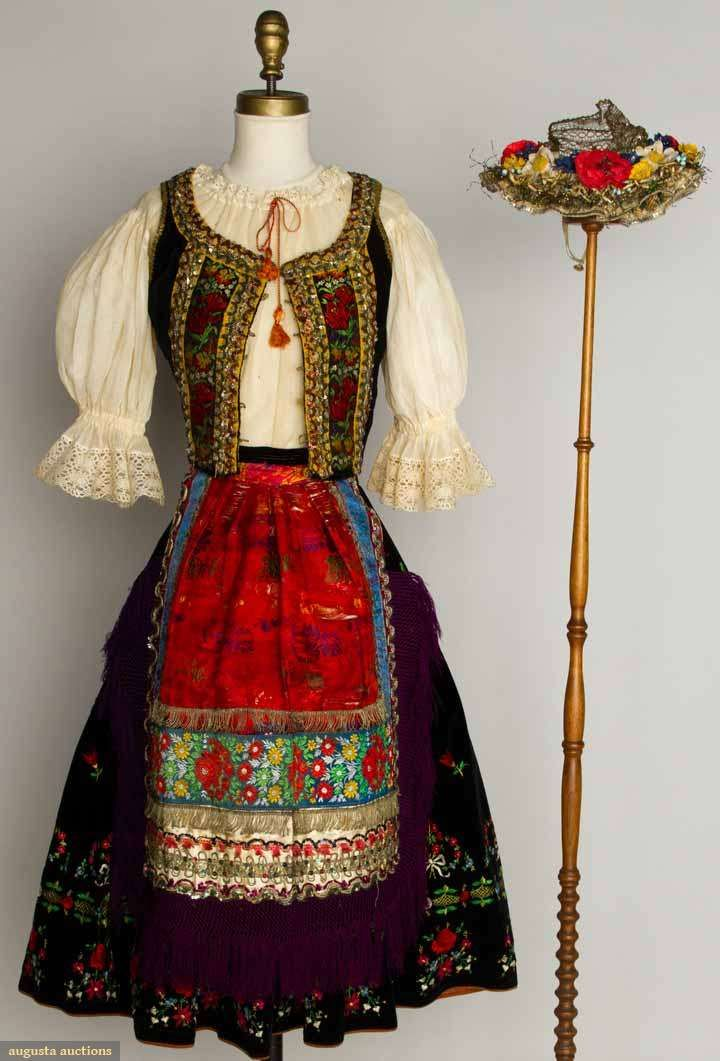 "Lady's Folk Costume, Hungary, 1930s, Augusta Auctions -- 5 piece set: black velvet skirt  vest w/ embroidered flowers  bows, white cotton blouse, red silk brocade apron, cloth flower decorated hat, B 30"", W 25"", skirt L 27.5"""