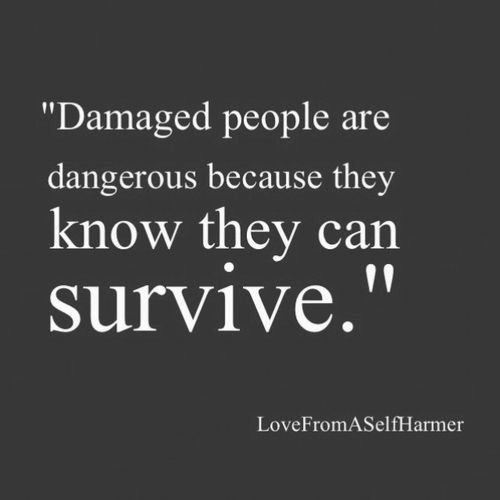 someone told me that I'm a survivor today and I never thought about it that way. I have scars inside and out and damn... That made my day. Thank you Mattie :)