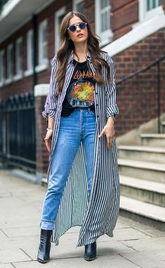 Long striped coat over graphic t-shirt for Fall Fashion.  See more at www. HerStyledView.com