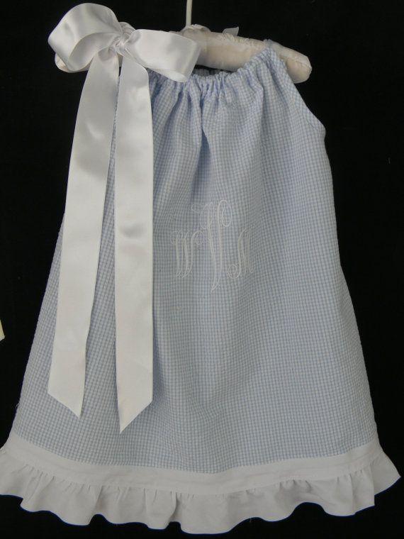 Toddler Girl Summer Dress Pillowcase Blue Gingham Seersucker with White Ruffle on Etsy, $30.00