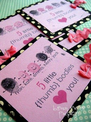 {thumbprint valentines} - Simply Kierste 5 little thumb bodies love you
