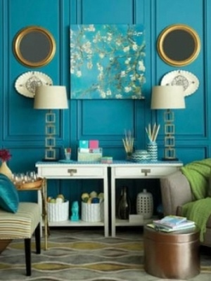Peacock blue walls...