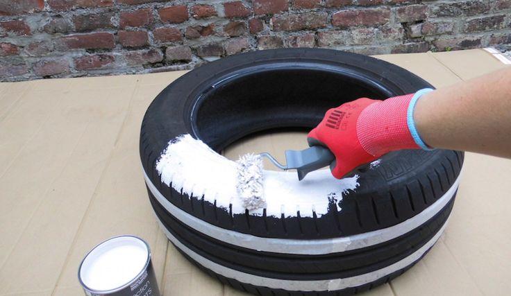 2 peindre le pneu au rouleau et au pinceau pour les endroits d licats la peinture acrylique. Black Bedroom Furniture Sets. Home Design Ideas