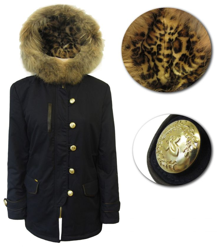 Super new winter coat with leopard print lining, military buttons and a lovely, fur trimmed hood. Chase those winter chills away.