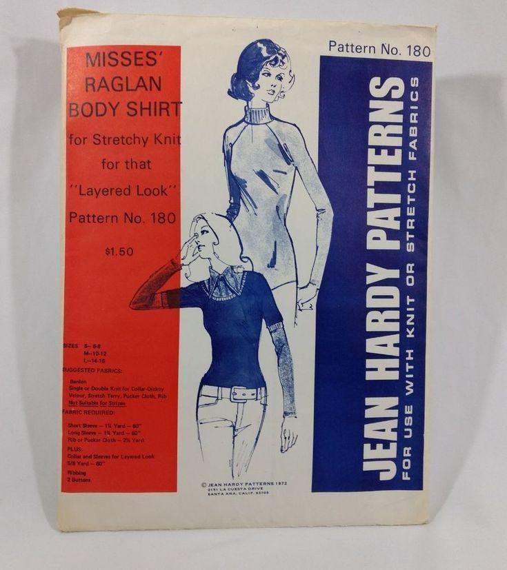Jean Hardy 180 Raglan BodySuit Shirt Sizes 6-16 No instructions Vtg 70s #jeanhardy #bodysuit
