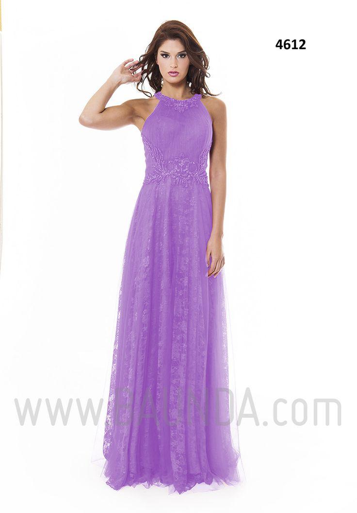 Vestido de fiesta largo 2016 XM 4612 lila. Espectacular vestido para invitadas a bodas de corte en A realizado en tul y encaje de color lila y pedrería