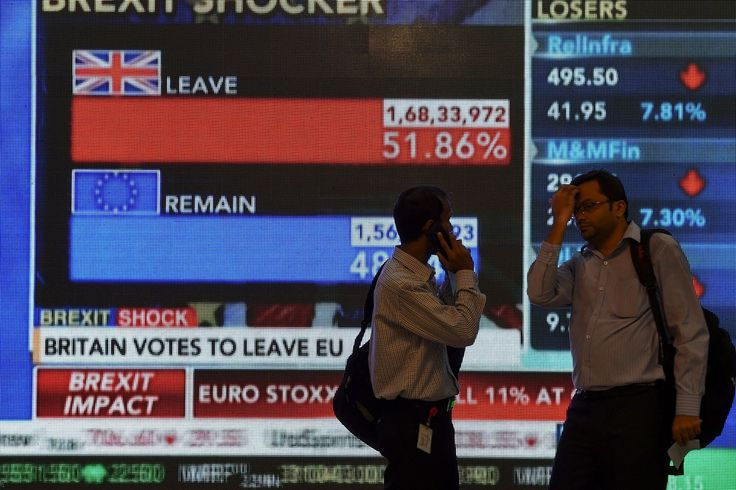 June 24 2016 A large screen shows the results of the Referendum and the effect that it has had on the stock market.