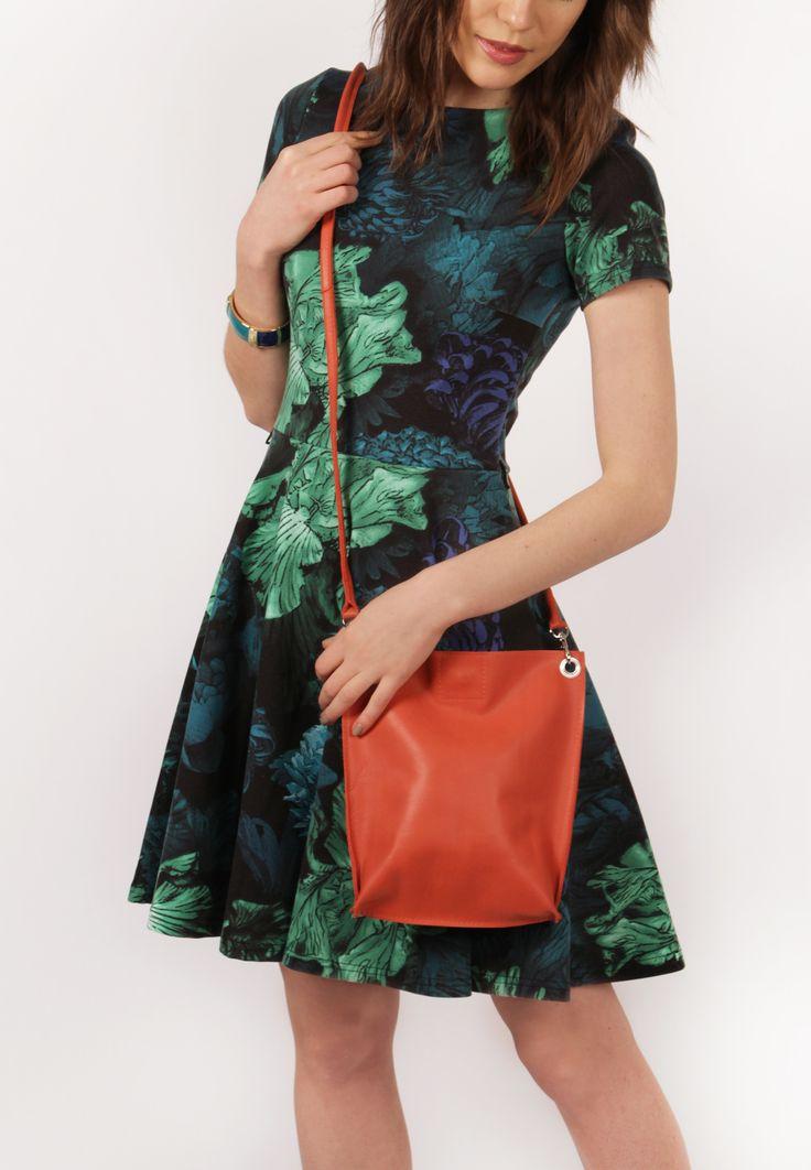 "Minimalist Bag, Small Crossbody ""Monica Corall"", Black Leather Crossbody, Bag for iPad mini, Leather Crossbody Purse"