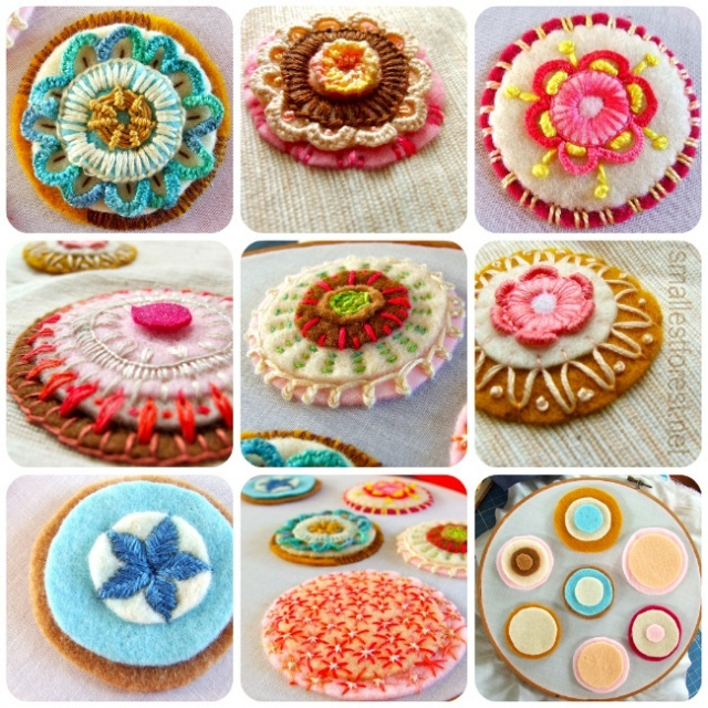 reminds us of our tried and true rondelle!: Cookies Embroidered, Felt Crafts, Felt Rondel Mosaics Jpg, Colors Embroidered, Brilliant Colors, Embroidered Felt, Felt Cookies, Feltrondelmosaicjpg 650650, Colors Inspiration