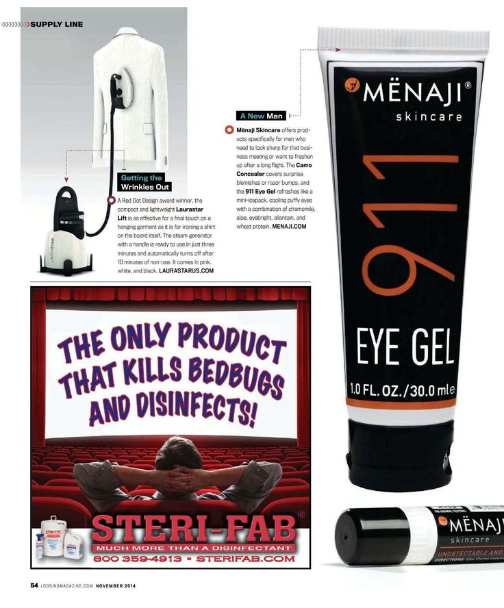 "This month's issue of Lodging magazine features Menaji ""for men who need to look sharp for that business meeting or want to freshen up after a long flight. The Camo Concealer covers surprise blemishes or razor bumps, and the 911 Eye Gel refreshes like a mini-icepack."""