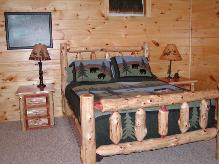 Red Cedar Log Bed available in twin, queen & king   Log ...