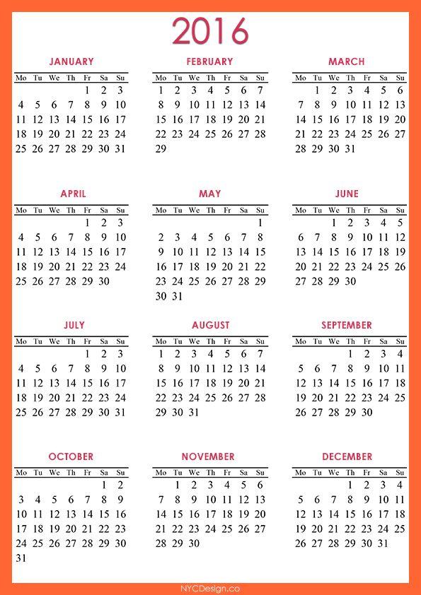 New York Web Design Studio, New York, NY: 2016 Calendar Printable - A4 Paper Size - Orange, Yellow, White