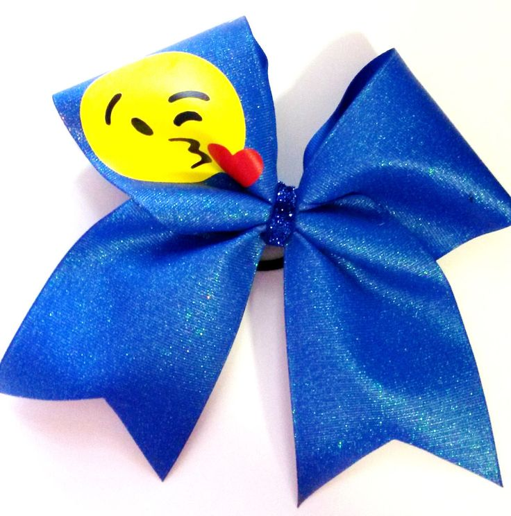 Kissy Kissing emoji Sparkle Cheer Hair Bow     | eBay