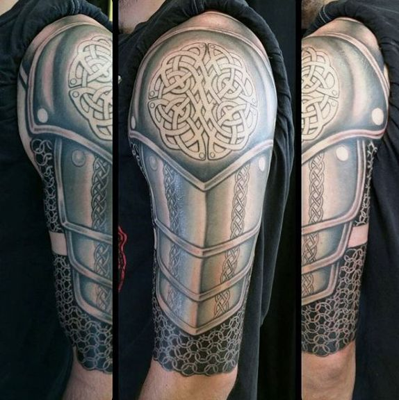Male With Close Helm Armor Tattoo