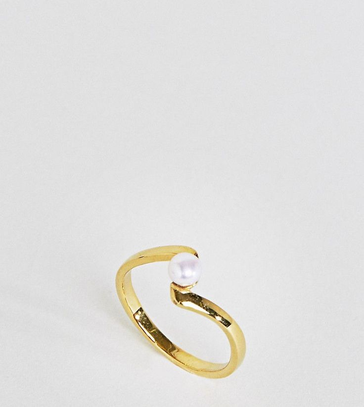 ASOS Gold Plated Sterling Silver Twisted Pearl Ring - Cream