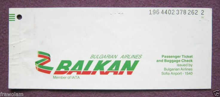 Balkan Bulgarian Airlines Passenger Ticket