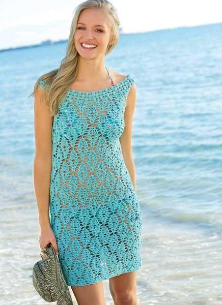 Голубое платье для пляжа