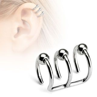 Triple Closure Ring with Beads 316L Surgical Steel Fake Non-Piercing Cartilage 'Clip-On'