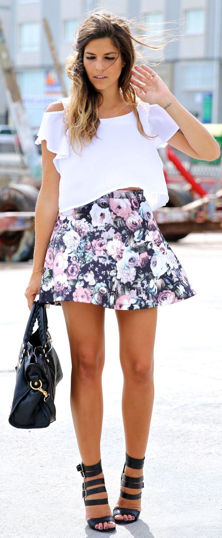 Floral skater + white tee.