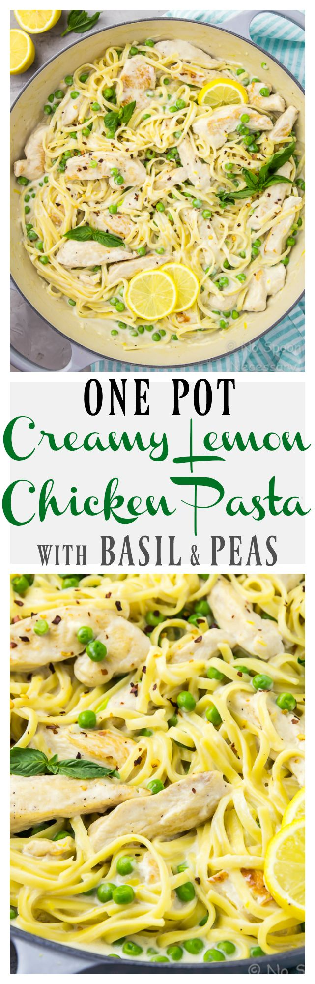 One Pot Creamy Lemon Chicken Pasta with Basil & Peas - ready, from prep to finish, in 30 minutes or less! #OnePot #30minutemeals