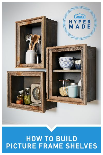 Turn a cluttered kitchen or living room into a DIY masterpiece by using a rustic picture frame to create a space saving shelf.