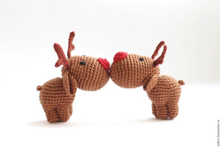 Купить Олененок амигуруми вязаная игрушка - коричневый, бежевый…
