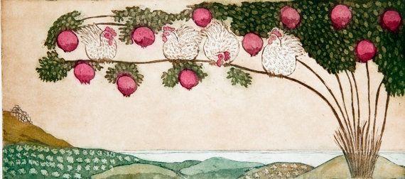pomegranate art print pomegranate tree art mediterranean