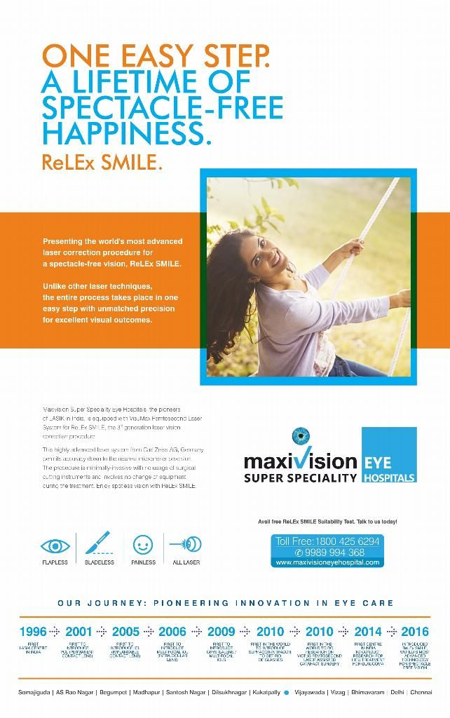 ReLEx SMILE. The World's most advanced technology for spectacle free vision. SMILE is an innovative 3RD generation one step laser treatment technique to make patient Spectacle free.