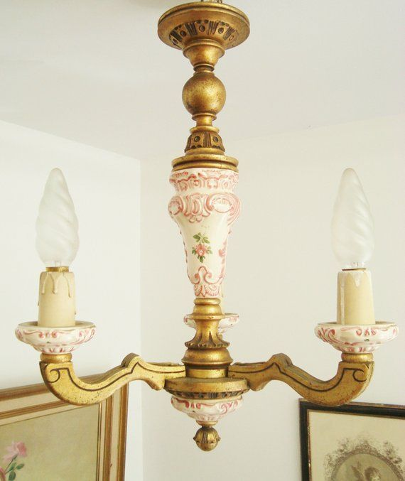 French Giltwood Chandelier Wooden Light Country Shabby Chic Cau Farmhouse Ceramic Rose Motifs