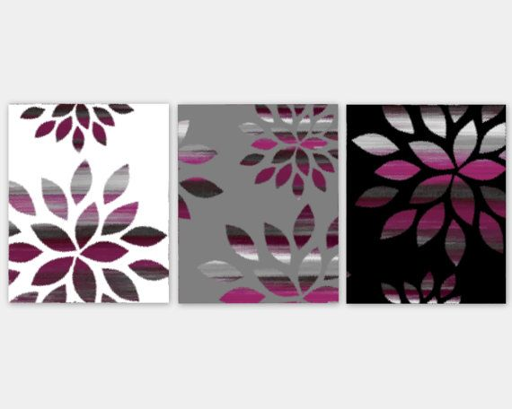 Items similar to wall art abstract prints set of 3 prints home decor magenta fuchsia purple grey black white wall decor bathroom wall art bedroom wall art