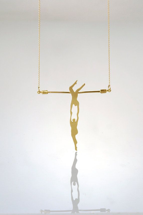 Athletic Couple on a Trapeze Gold Necklace by meytalbarnoy on Etsy, $59.00