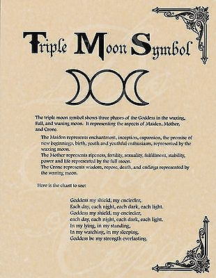 <3 Book of Shadows page - Triple Moon Symbol & Goddess Chant