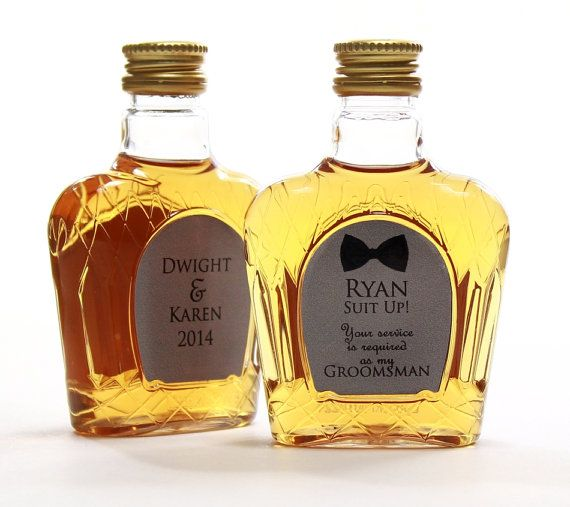 Groomsman Asking Gift: Crown Royale Mini Bottle with Custom Label