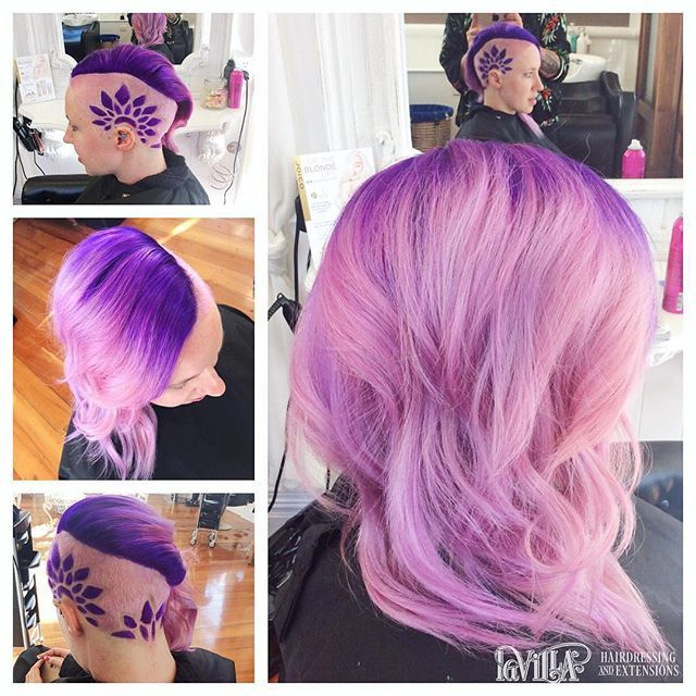 Ahh these locks!💜 purple to candy floss pink balayage, complete with some awesome hair tattooing!  Repost @lavilla.nz 😍 #hairgoals #haircolouroftheday #lusthairnz