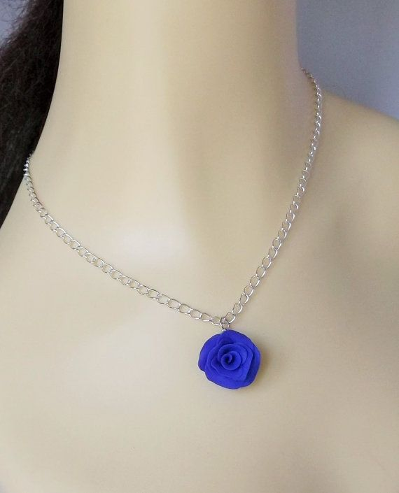 Rose Pendant Blue Rose Flower Necklace Polymer by fabtasticflowers