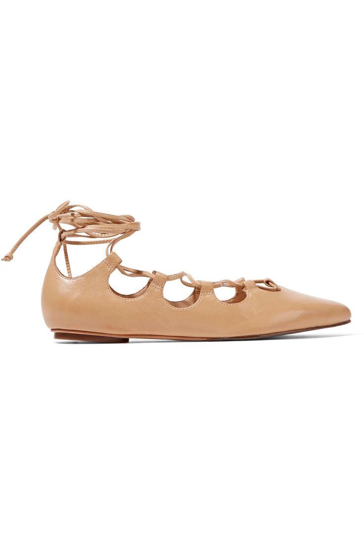 Schutz Adona leather lace-up point-toe flats