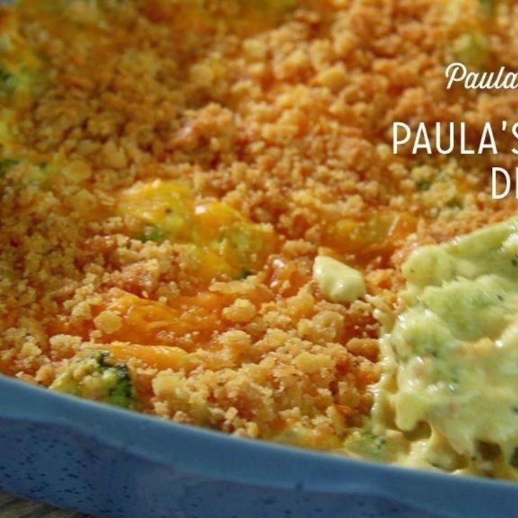 Paula Deen's Chicken Divan (I substitute green onion for broccoli, mushroom soup for chicken soup, and grated Parmesan for Cheddar for topping. I also add cooked rice in the chicken mixture.)