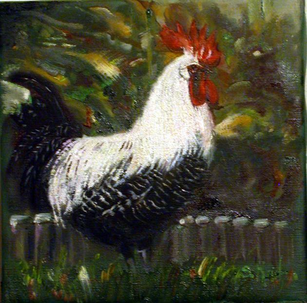 coq à col blanc - Peinture,  25x25 cm ©2009 par Serge KRIEF - Peintre -                            Art nouveau, coq, animaux, coqs