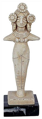 """Harvest goddess from Mohenjo Daro. This figurine was found in the ancient city of Mohenjo-Daro. Most human figurines found in the ruins of that culture are feminine which indicates that women had a high standing in that society. Mohenjo Daro, or """"Mound of the Dead"""" is an ancient Indus Valley Civilization city that flourished between 2600 and 1900 BCE. It was one of the first world and ancient Indian cities. The site was discovered in the 1920s and lies in Pakistan's Sindh province."""